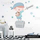 Súper niño pirata - Azul - Vinilos infantiles - T1 - Pequeño