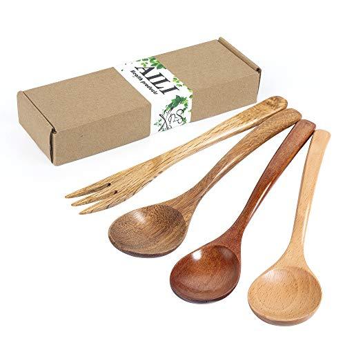 AILI Cuchara de madera, 3 cucharas de madera de 18 cm para servir condimentos, cucharas de sal, miel, cuchara, café, té, azúcar, sal, mermelada, mostaza, helado, cucharas de madera