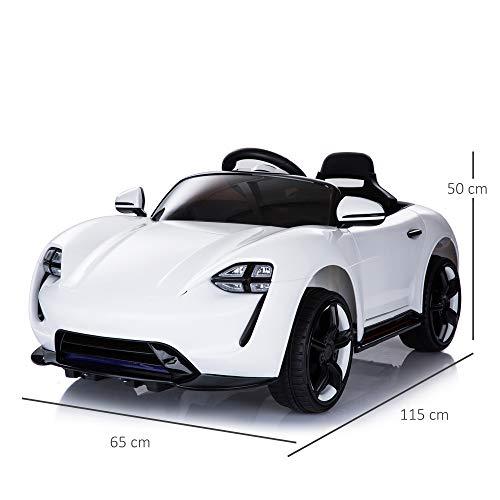 RC Auto kaufen Kinderauto Bild 4: HOMCOM Kinderauto Elektroauto Kinderfahrzeug Kinderwagen mit Fernbedienung Weiß L115 x B65 x H50 cm*