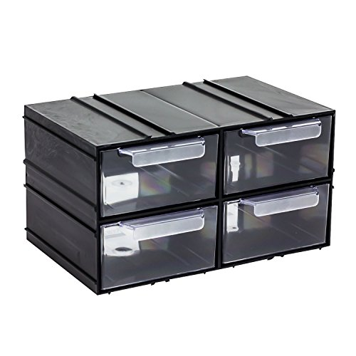 4 Stück Schubladen Regal endlos erweiterbar Kombi Modul transparent 230 x 145 x 125 mm