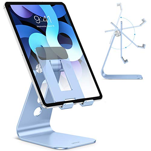 Adjustable Tablet Stand for Desk, Upgraded Longer Arm for Great Stability, OMOTON T2 Tablet Phone Stand Holder with Hollow Design for Bigger Sized Phones and Tablets Such as iPad Pro/Air/Mini, Blue