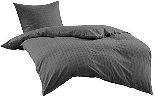 Bettwaesche-mit-Stil Mako Satin Damast Streifen Bettwäsche Garnitur Lima gestreift mit Reißverschluss (Anthrazit, 140 x 200 + 70 x 90)