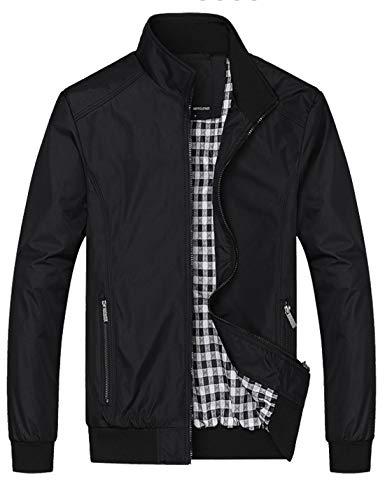 Lentta Men's Casual Slim Lightweight Softshell Zipper Windbreakers Bomber Jacket (Medium, 02-Black)