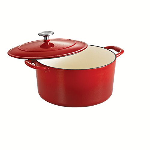Tramontina Covered Round Dutch Oven Enameled Cast Iron 6.5-Quart, Gradated Red, 80131/048DS