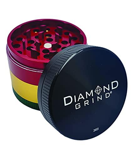 "Diamond Grind 4 Piece Aluminum Herb Grinder with screen 56mm (2.25"") RASTA"
