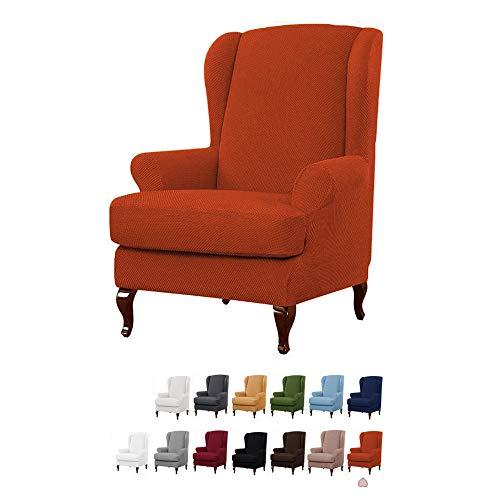 YMOMG Sessel-Überwürfe Ohrensessel Überzug BEZUG Sesselhusse Elastisch Stretch Husse Für Ohrensessel 2-teiliger Sesselbezug Möbelschutzbezug, 1 Sofabezug Mit Elastischem Boden (Orange)