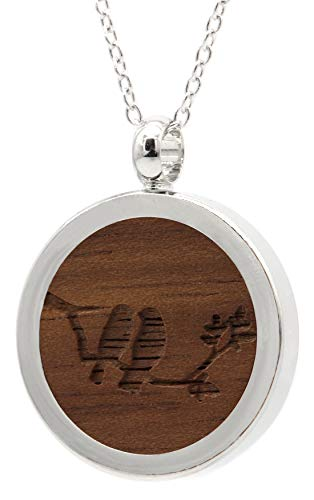 NaturSchatulle Kette mit Anhänger Holz Gravur Vögel Halskette Holzanhänger Medaillon Silber 925 Damen Kettenanhänger Amulett Holzschmuck Charms 50cm