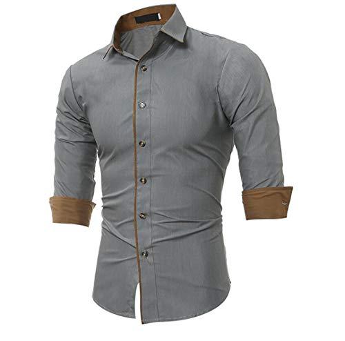 Hombres 2020 Primavera Color sólido Camisas de Vestir para Hombre Casual Tide Camisa de Manga Larga de Negocios Simple Gray Asian Size M