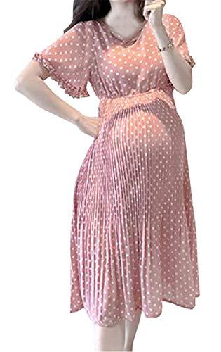 Damas Verano Ropa De Maternidad Informal Vestido Vintage Gasa Punto Inconformista Manga Corta Suelta Vestido del Embarazo De Cintura Alta Midi Vestido De Maternidad (Color : Pink, Size : L)