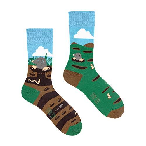 Spox Sox Casual Unisex - mehrfarbige, bunte Socken für Individualisten, Gr. 40-43, Maulwurf
