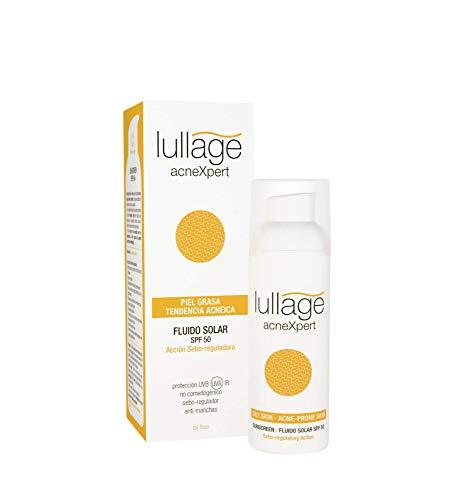 Lullage acneXpert Filtro Solar Facial SPF 50 Protege tu Piel de los Efectos del Sol para Piel Grasa Fórmula oil free y no blanqua SPF 50 | UVB | UVA | IR , 50 ml