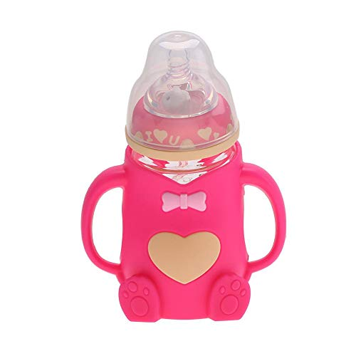 Bouteille d'allaitement Portable en silicone Biberons Bouteille de lait anti-brûlure résistant à la chaleur avec poignées pour chiots nouveau-nés(rouge)
