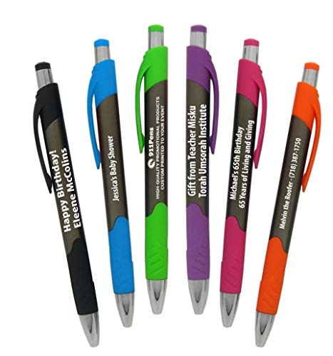 60 Pack, Personalized Writing Ink Ballpoint Novelty Pens, Smooth Rubber Grip Clicker pen, Custom Printed with Your Logo & Text, Promote your brand (Solid Barrel with Assorted Trim)
