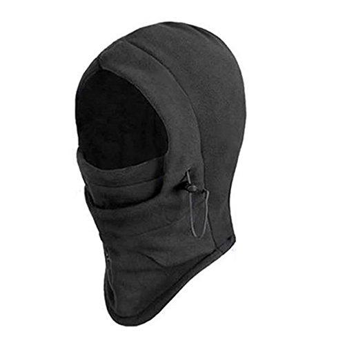 homiki La Vogue Unisexe Cagoule Masque de Ski Double Couches épaissir Hiver Tour de Cou et Visage Protection en Velours Noir