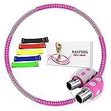 BAIYING Hula Hoop Reifen Erwachsene, Fitness Hoola Hoop für Gewichtsabnahme und Massage, Abnehmbarer Rostfreier Stahl Exercise Hoop für Fitness, Zuhause und BüRo Körperformung, Einstellbares Gewicht