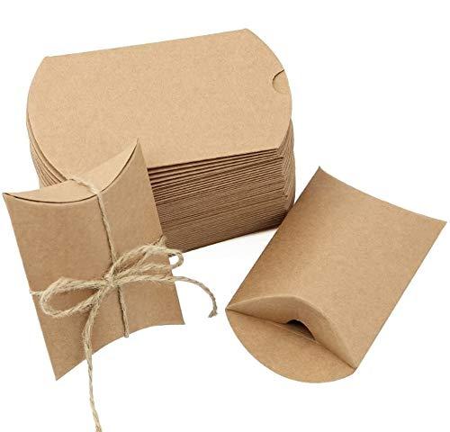 JTDEAL Vintage Gastgeschenke Weihnachten, Geschenke Boxen, Geschenkverpackung, Kraft Papier Geschenk Box mit Juteschnur für Weihnachten, Süßigkeiten, Schmuck, Nuss,Hochzeit, 50 Stück