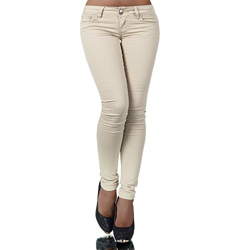 H937 Damen Jeans Hose Hüfthose Damenjeans Hüftjeans Röhrenjeans Röhrenhose Röhre, Größen:40 (L), Farben:Beige