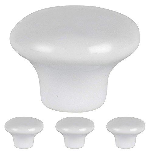 Lot de 4 boutons de meuble - Poignées à tirer rondes en forme de champignon - 32 mm - Chromées - Pour tiroir, porte de meuble, placard, armoire