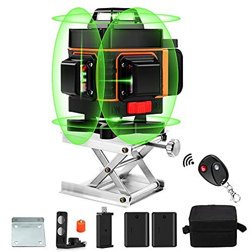 360 Laser Level, Elikliv 4d Laser Level 16 Lines Green Beam Light Horizontal Vertical Laser Level Self Leveling with Alarm, 4000mAh Rechargeable Battery,Lifting Platform Base