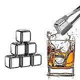 KAMEUN 8 Piedras de Hielo Reutilizables,Juego de Cubitos de Hielo de Acero Inoxidable, para Whisky, Vodka, Vino y Cócteles Clip Antideslizante + Caja