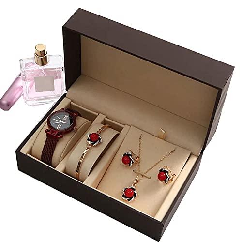 MaSYZBF Reloj de Moda clásico para Mujer, Reloj, Collar, Tachuelas para los oídos, Reloj de Pulsera para Mujer, Reloj de Pulsera de Cuarzo de Cuero Informal, Reloj de Pulsera para Dama,D
