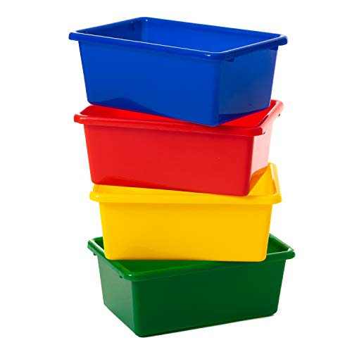 Gatton Design Primary Colours Plastic Storage Baskets/Boxes | Set of 4 | Great as Kitchen, Office & Home Storage Solutions | Perfect to Organise Kids Toys & Accessories | Keep Your Space Tidy (Small)