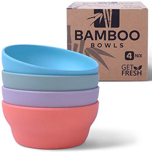 GET FRESH Les Bols en Bambou - Pack de 4 Réutilisable Bols Bambou sans BPA - Coffret Vaisselle en Bambou Allant au Lave-vaisselle - Bamboo Fibre Bolws Set