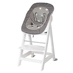 roba Born Up trappa stol, set 2in1, Little Stars, med fastsättning för nyfödda, barnstol, baby barnstol med vilstol funktion, från födseln växer upp till ungdomsstolen, trä, vit