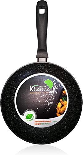 Wecook Khalma Sarten inducción 28cm Honda Aluminio, Antiadherente Piedra ecológico sin PFOA, Apta Todas Las cocinas, vitroceramica, Gas, lavavajillas, 28 cm