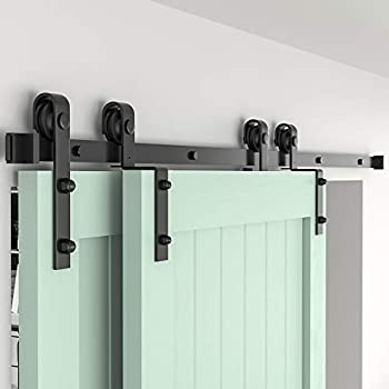 ZEKOO 5.5ft Bypass Sliding Barn Door Hardware Kit Single Track Double Wooden Doors Use Flat Track Roller One-Piece Rail Low Ceiling