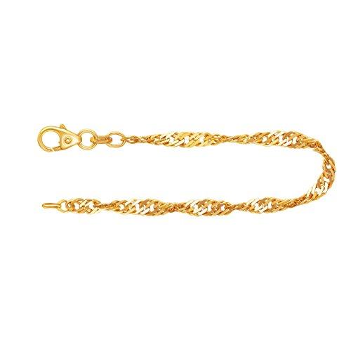 EDELWEISS Bracciale maglia singapore in oro giallo 333 a 8 carati con una lunghezza di 21 cm, larghezza 2.9 mm e peso di circa 2.7 g.