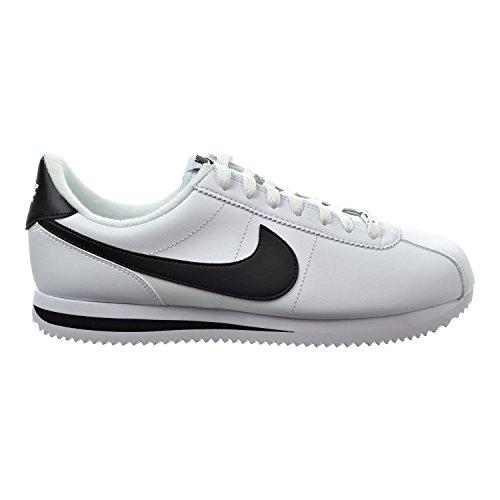Nike Cortez Basic Herren-Lederschuhe, Weiß/Metallic, Silber/Schwarz 819719-100, Größe 43 Breite (M)