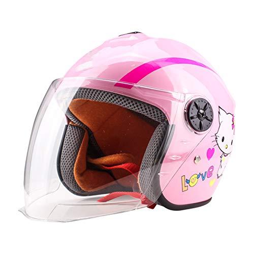 QOUP I Bambini del Casco del motorino Luce del Casco Protettivo Gear Roller Skating Scooter in Bicicletta Casco della Bici Misura Adattabile, per 4-9 Anni Ragazzi e Ragazze,Rosa