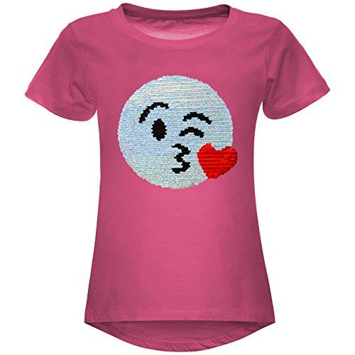 BEZLIT Mädchen Wende-Pailletten Stretch T-Shirt Smile-Motiv 22606 Pink Größe 164