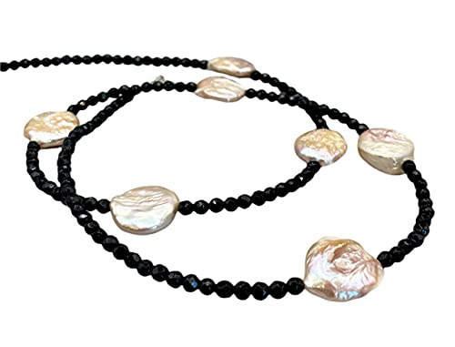 Collar de Perlas Barrocas Rosas y Onix Negro, Plata 925, Joyas Artesanales de Piedras Naturales, Estilo Boho, Regalo para Mujer