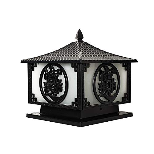 Wylolik Lámpara de columna tradicional contemporánea, acabado negro Linterna de entrenador para exteriores IP65 Lámpara de poste impermeable Lámparas de pilar exterior de vidrio esmerilado cuadrado pa
