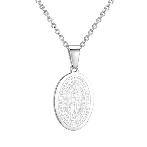 PROSTEEL Colgante de Señora de Guadalupe Collar de Santa María de Acero Inoxidable