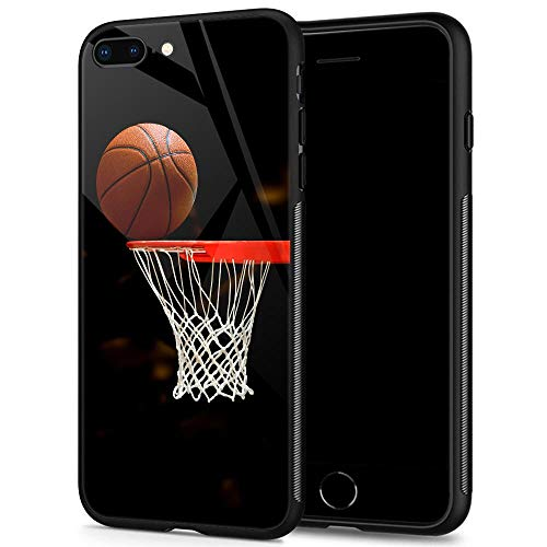 iPhone 8 Plus Cases, Tempered Glass iPhone 7 Plus Case Basketball Pattern Design Black Cover Sport Case for iPhone 7/8 Plus 5.5-inch Basketball