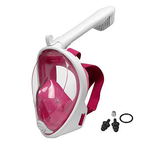 Lamker Mascara Buceo Niños Rosa 180° Panorámica Máscaras de Snorkel de Cara Completa Cámara Deportiva Compatible Anti-Niebla y Anti-Fugas Gafas de Bucear