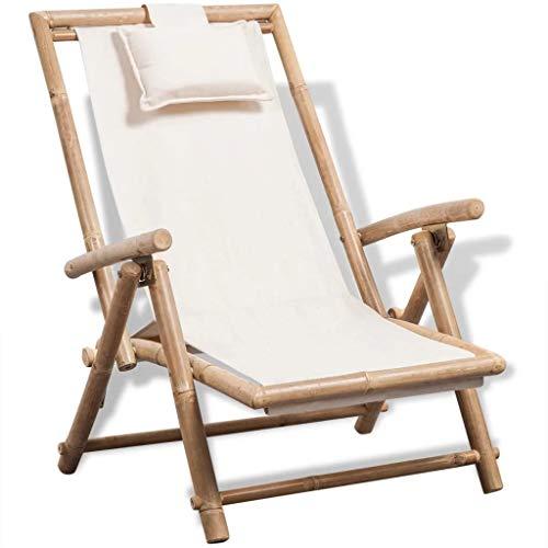 Cikonielf Sedie a Sdraio da Giardino Pieghevole in bambù, Lettino Prendisolein con Cuscino,per la Spiaggia e Il Campeggio,Bianco