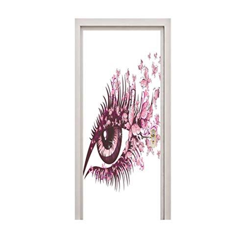 Vosarea 3D Etiqueta de Arte Mural de la Puerta autoadhesiva PVC extraíble Impermeable Etiqueta de la decoración de la Puerta para el Hotel Home Store (Estilo Ojo)