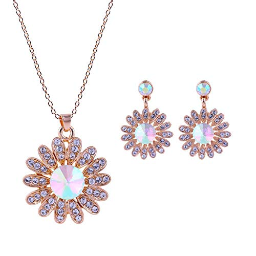 MSYOU Personality Earring Creative Sunflower Shaped Diamond Pendant Earrings Necklace Jewelry Accessories for Ladies