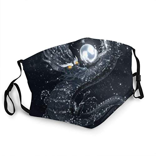 Mundschutz Face Cover Good Black Dragon Shining Pearls in The Starry Sky Face Washable Reusable Other Airborne