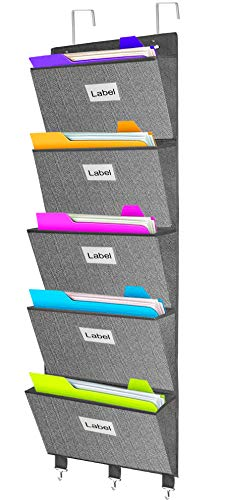 Over The Door File Organizer, Hanging File Folders Document Wall Mount Storage Holder Pocket Chart for Magazine, Notebooks, Planners,Paper 5 Extra Large Pockets- Herringbone Pattern(Grey)