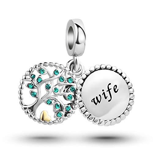 MiniJewelry Wife Family Tree Dangle Charm for Bracelets fits Pandora Charms Bracelets Tree of Life Women Anniversary Birthday Green Crystal