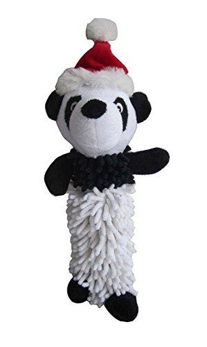 Iconic Pet Christmas Panda Noodle Plush Stuffed Squeaky Holiday Pet Dog Toy