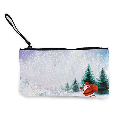 Canvas Coin Purse,Santa Claus Multi-Functional Wallet Zipper Bag Fashion Makeup Bag Travel Cosmetic Mobile Phone Bag 4.7x8.7in with Wrist Strap