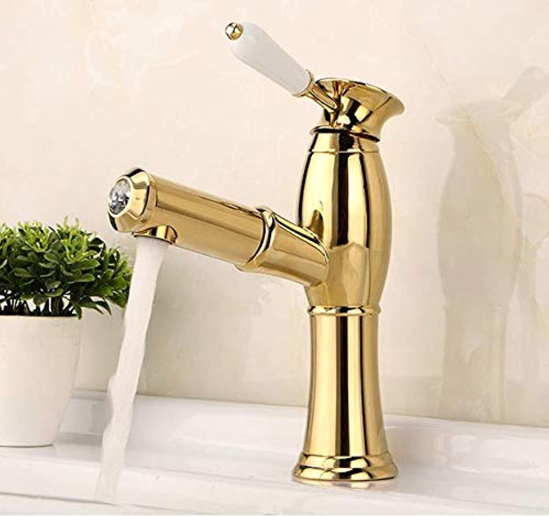 Waschbecken Wasserhahn TelesCopic Pull Wasserhahn Gold Becken Bad Wasserhahn Kupfer heies und kaltes Wasser waschbar