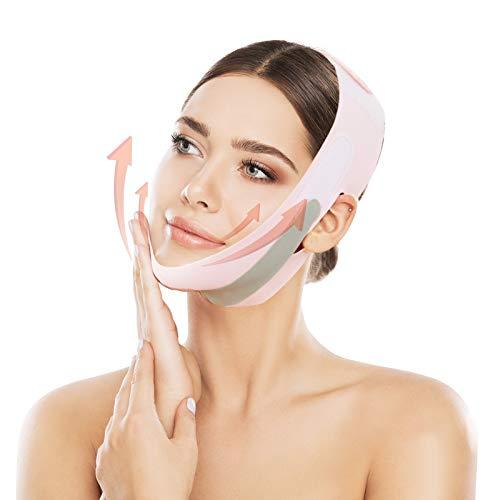 Abnehmende Gesichtsmaske, Doppelkinnentferner Doppelter Kinnreduzierer V Line Atmungsaktiv Wiederverwendbarer Kinnriemen Ultradünner Schlafhals Gesichtshals zur Beseitigung...