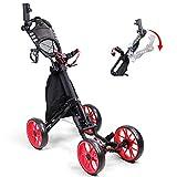 GJZhuan Chariot de Golf Junior, voiturette de Golf à 4 Roues, adapté aux Adultes et aux Enfants, Facile à Plier en Seulement Deux étapes, s'effondre et s'enclenche Ensemble en Quelques Secondes,Black